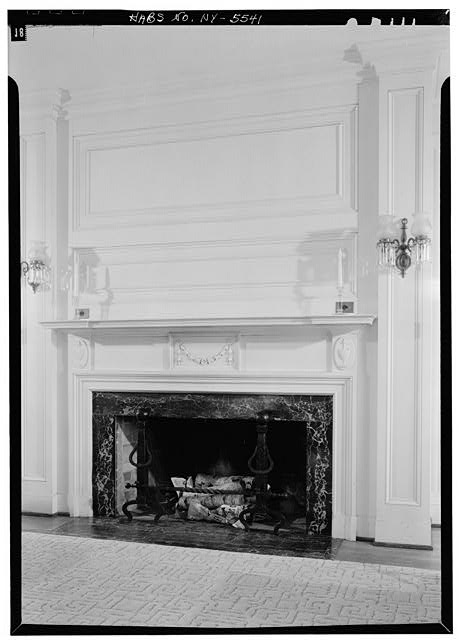 12.  Historic American Buildings Survey, 1963, INTERIOR, FIRST FLOOR, NORTH ROOM, FIREPLACE AND MANTLE. - Amos Patterson House, 3725 River Road, Endwell, Broome County, NY