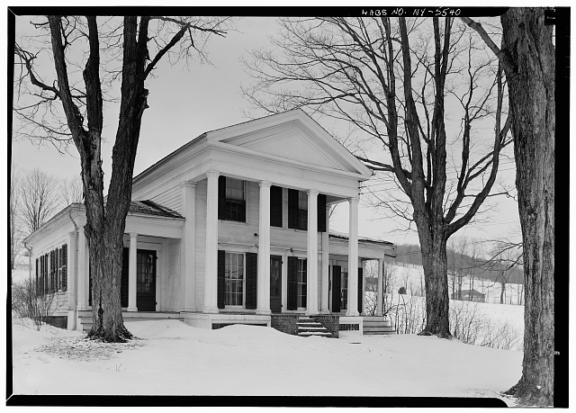 1.  Historic American Buildings Survey, 1963, EAST AND SOUTH ELEVATIONS. - Cyrus Gates House, Old Nanticoke Road, Maine, Broome County, NY