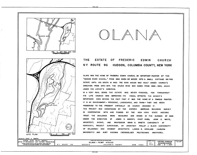 HABS NY,11-HUD,1E- (sheet 1 of 3) - Olana, Pump House, State Route 9G, Hudson, Columbia County, NY