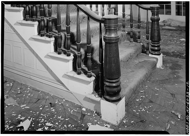12.  DETAIL OF NEWELL POST AND SECTION OF BALUSTRADE, FOYER, FIRST FLOOR - General Worth Hotel, 213-215 Main Street, Hudson, Columbia County, NY