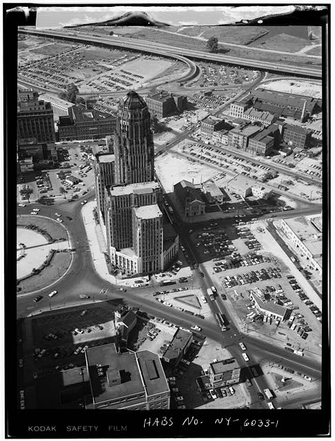 1.  AERIAL VIEW, GENERAL VICINITY - Buffalo City Hall, 65 Niagara Square, Buffalo, Erie County, NY