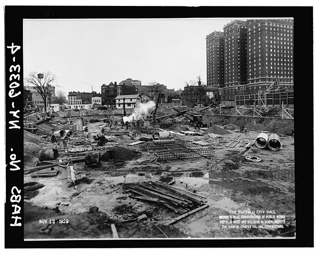 4.  Looking northeast,excavation during placement of caissons,Nov. 12,1929 - Buffalo City Hall, 65 Niagara Square, Buffalo, Erie County, NY
