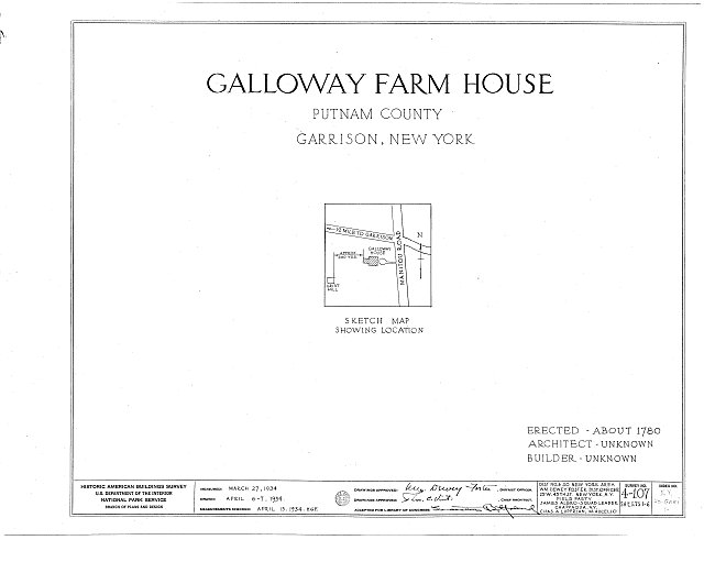 HABS NY,40-GARI,1- (sheet 0 of 6) - Galloway Farmhouse, Manitou Road, Garrison, Putnam County, NY