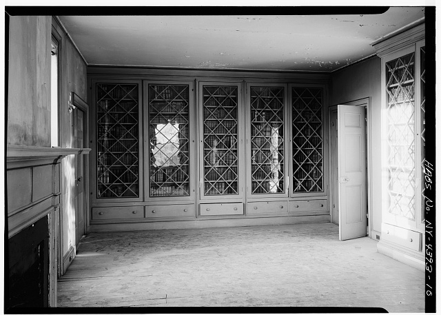 10.  FIRST FLOOR, WEST ROOM, VIEW OF BOOKCASES - John Jay House, State Route 22, Katonah, Westchester County, NY