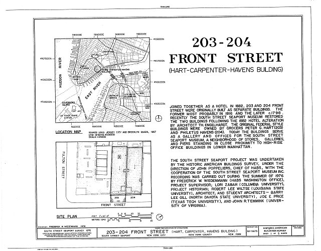 HABS NY,31-NEYO,132- (sheet 1 of 5) - South Street Seaport Museum, 203-204 Front Street, New York, New York County, NY