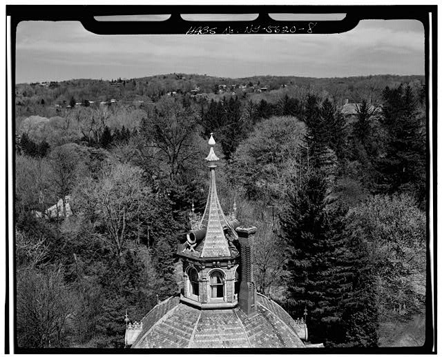 8.  AERIAL VIEW, CLOSEUP OF CUPOLA AND FINIAL - Armour-Stiner House, 45 West Clinton Avenue, Irvington, Westchester County, NY