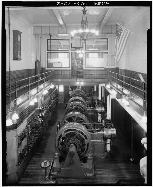 2.  GENERAL INTERIOR VIEW OF POWER PLANT SHOWING THREE GE DIRECT CURRENT GENERATORS WITH STEAM PIPES TO RIGHT. - Pratt Institute, Power Generating Plant, Willoughby Avenue between Classen &amp; Hall Streets, Brooklyn, Kings County, NY