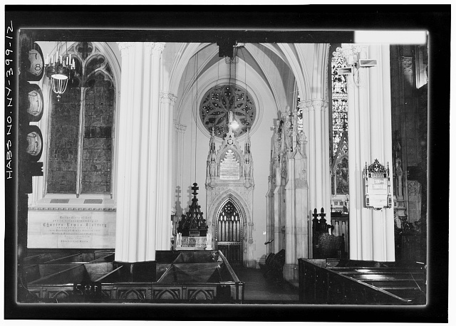 12.  BAPTISTRY, EAST WALL OF TRANSEPT TO NORTH OF CHAPEL Copy photograph of photogrammetric plate LC-HABS-GS07-T-1343-101L. - Grace Church, Broadway, Tenth Street & Fourth Avenue, New York, New York County, NY