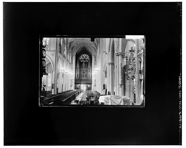 14.  WEST ENTRANCE, FROM CHANCEL Copy photograph of photogrammetric plate LC-HABS-GS07-T-1343-103R. - Grace Church, Broadway, Tenth Street & Fourth Avenue, New York, New York County, NY
