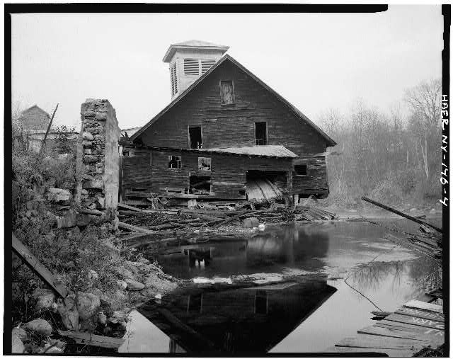 4.  VIEW LOOKING WEST, GENERAL ELEVATION - Emerson Sawmill, Scroon River, River Street, Warrensburg, Warren County, NY