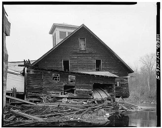 5.  VIEW LOOKING WEST, SHOWING COLLAPSED EAST WING - Emerson Sawmill, Scroon River, River Street, Warrensburg, Warren County, NY