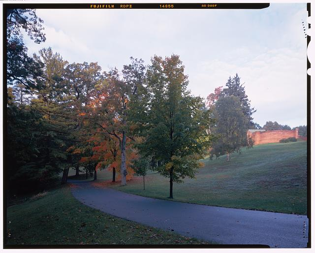 32.  NPS Route 13 near rose garden, view SW. - Vanderbilt Mansion Roads & Bridges, Hyde Park, Dutchess County, NY