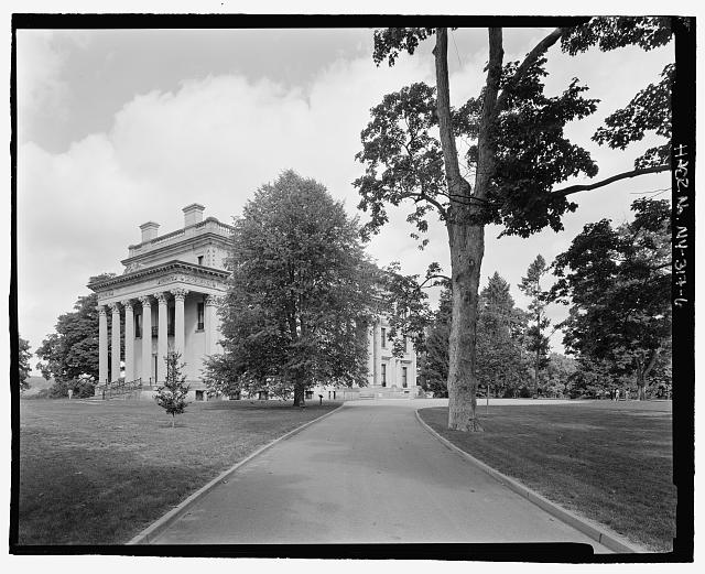 6.  Mansion and road to visitor center, NPS Route 10, view WNW. - Vanderbilt Mansion Roads & Bridges, Hyde Park, Dutchess County, NY
