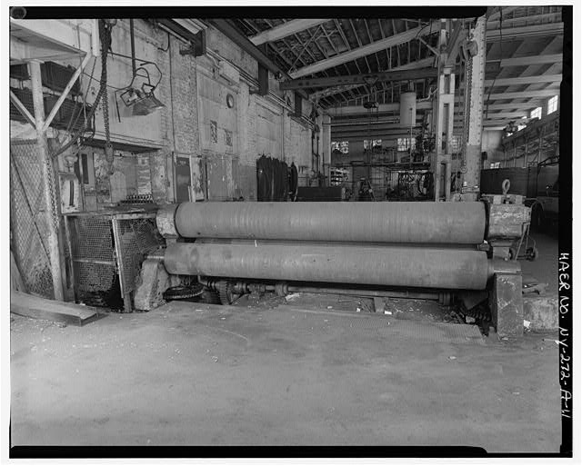 11.  SOUTH BAY SHOWING 3 X 11 7' PYRAMID PLATE BENDING ROLLS, VIEW WEST - Oldman Boiler Works, Boilershop, 32 Illinois Street, Buffalo, Erie County, NY