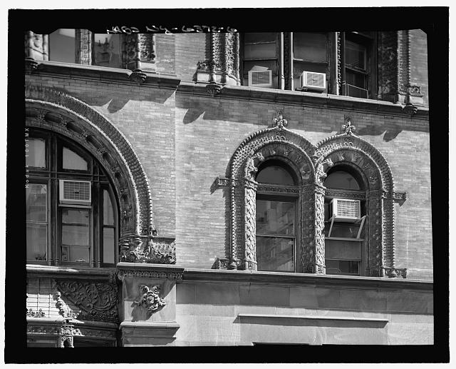 John Street (South) Elevation (Fourth Floor, Terra Cotta detailed window surrounds) - Close-up taken from rooftop of 10 John Street - Corbin Building, 11 John Street, New York, New York County, NY