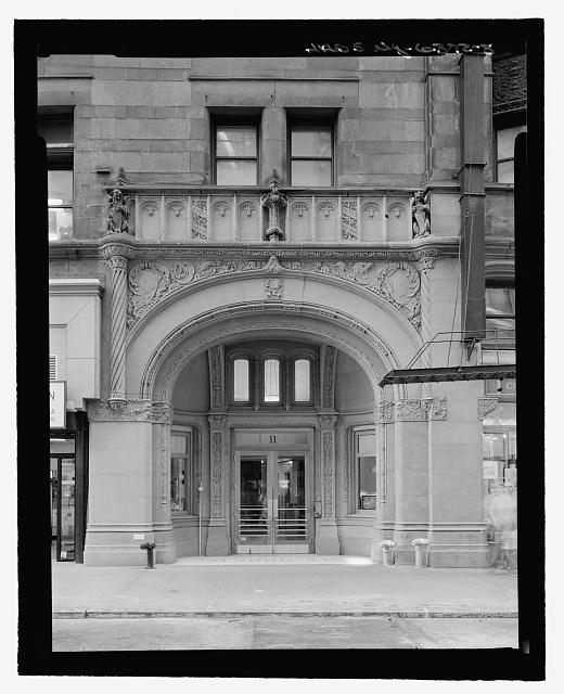 Front Entrance Detail, John Street, South Elevation (with measuring stick) - Corbin Building, 11 John Street, New York, New York County, NY