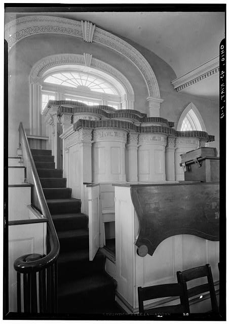 13. Historic American Buildings Survey, Carl F. Waite, Photographer April, 1934 INTERIOR DETAIL VIEW LOOKING WEST, FIRST FLOOR.  - Kirtland Temple (Mormon), 9020 Chillicoth Road, Kirtland, Lake County, OH