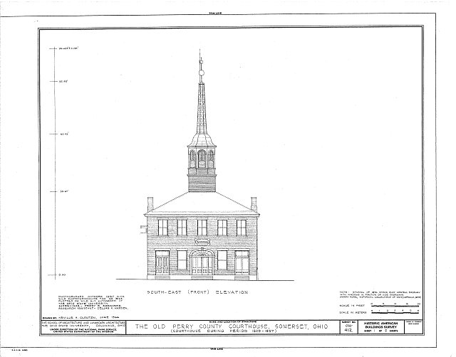 HABS OHIO,64-SOM,1- (sheet 1 of 2) - Old Perry County Courthouse, Town Square, Somerset, Perry County, OH