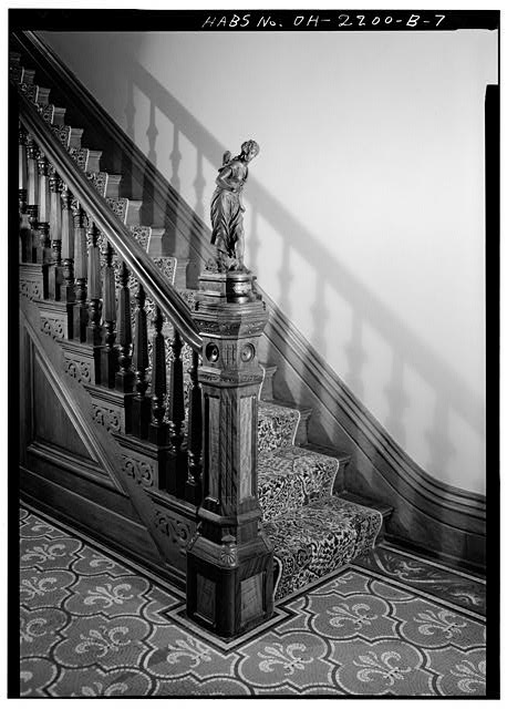 5.  NEWEL POST WITH BRONZE SCULPTURE OF DIANA - Skaats-Hauck House, 812 Dayton Street, Cincinnati, Hamilton County, OH