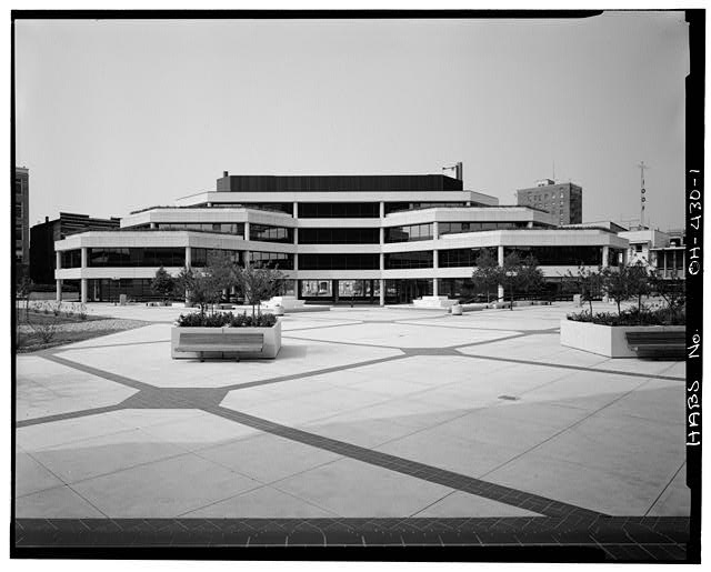 1.  South (main) elevation facing plaza - Springfield City Hall (1979), 76 East High Street, Springfield, Clark County, OH