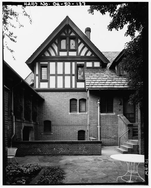 137.  PORCH/STAIRS, NORTH - Stan Hywet Hall, 714 North Portage Path, Akron, Summit County, OH