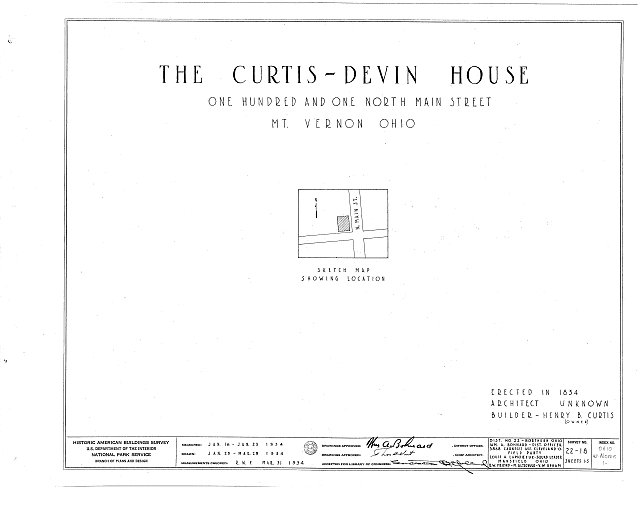 HABS OHIO,42-MOVER,1- (sheet 0 of 5) - Curtis-Devin House, 101 North Main Street, Mount Vernon, Knox County, OH