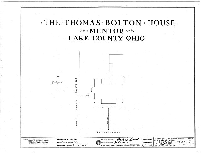 HABS OHIO,43-MENT,1- (sheet 0 of 2) - Thomas Bolton House, Euclid Road & East Seventy-first Street, Mentor, Lake County, OH