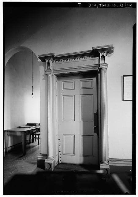 5.  Historic American Buildings Survey, Edgar D. Tyler, Photographer March 7, 1934 DOORWAY FROM HALLWAY FIRST FLOOR. - Marine Hospital, Third & Kilgour Streets, Cincinnati, Hamilton County, OH