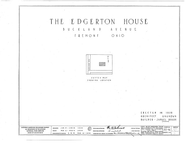 HABS OHIO,72-FREMO,2- (sheet 0 of 4) - Edgerton House, Buckland Avenue, Fremont, Sandusky County, OH