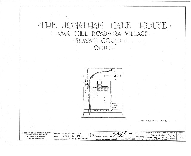 HABS OHIO,77-IRA,1- (sheet 0 of 6) - Jonathan Hale House, Oak Hill Road, Ira, Summit County, OH