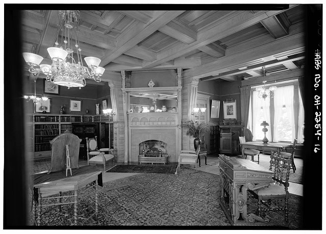 16.  VIEW IN LIBRARY SHOWING FIREPLACE - Lawnfield, 8095 Mentor Avenue (U.S. Route 20), Mentor, Lake County, OH