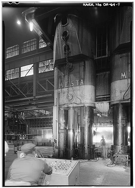 Mesta 50,000 ton closed die forging press at Alcoa Forging Division in Cleveland, Historic American Engineering Record
