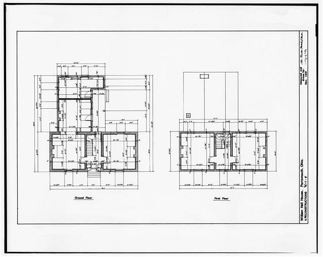 5.  RECONSTRUCTIONS OF GROUND FLOOR AND FIRST FLOOR - William Hall House, 429 Second Street, Portsmouth, Scioto County, OH