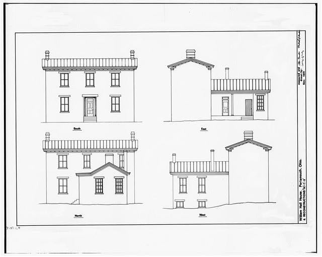 6.  RECONSTRUCTIONS OF SOUTH, EAST, NORTH, AND WEST ELEVATIONS - William Hall House, 429 Second Street, Portsmouth, Scioto County, OH