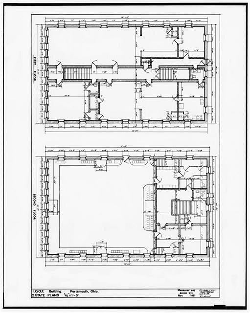 2.  PLANS: FIRST FLOOR, SECOND FLOOR - Independent Order of Odd Fellows, Court & Fifth Streets, Portsmouth, Scioto County, OH