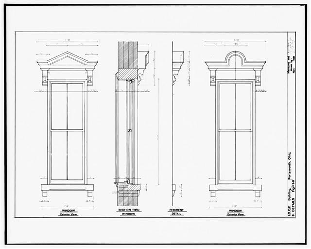 8.  DETAILS: WINDOWS, SECTION THROUGH WINDOW, PEDIMENT - Independent Order of Odd Fellows, Court & Fifth Streets, Portsmouth, Scioto County, OH