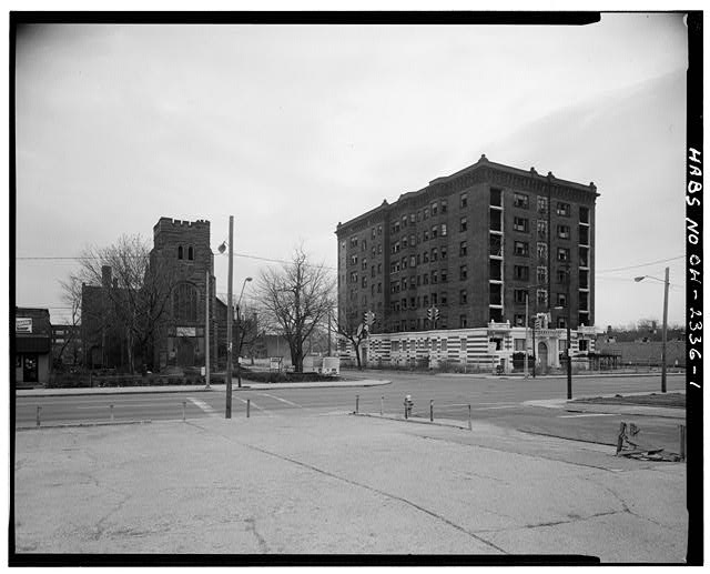 1.  EUCLID AVENUE AND EAST 82ND STREET; FACADE AND WEST ELEVATION, LOOKING NORTHEAST - Hotel St. Regis, 8205 Euclid Avenue, Cleveland, Cuyahoga County, OH