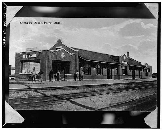 7.  Photocopy of postcard (Original source unknown, 1903) Frederick D. Schirrmacher, Photographer, July 1975 EXTERIOR, FRONT - Atchison, Topeka, Santa Fe Railroad Station, Perry, Noble County, OK