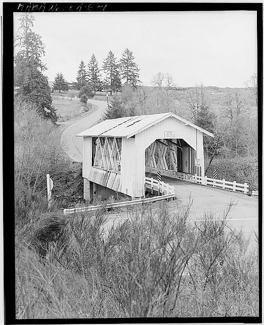 1.  VIEW OF NORTH AND EAST SIDES, LOOKING SOUTH FROM COUNTY ROAD 829. HIGHWAY 226 IN FOREGROUND. - Jordan Covered Bridge, Spanning Thomas Creek, County Road 829, Scio, Linn County, OR
