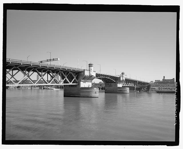4.  General view of Burnside Bridge, looking northeast, across the Willamette River. - Burnside Bridge, Spanning Willamette River at Burnside Street, Portland, Multnomah County, OR