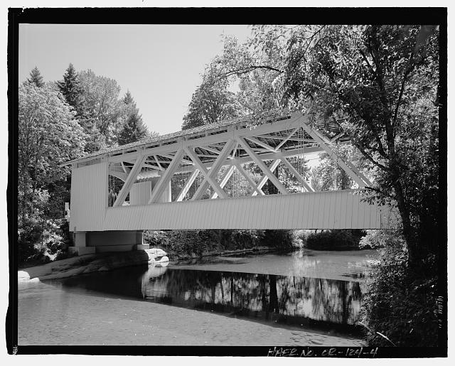 4.  Perspective view of the Larwood Bridge, view to southeast. - Larwood Bridge, Spanning Crabtree Creek, Fish Hatchery Road (CR 648), Lacomb, Linn County, OR
