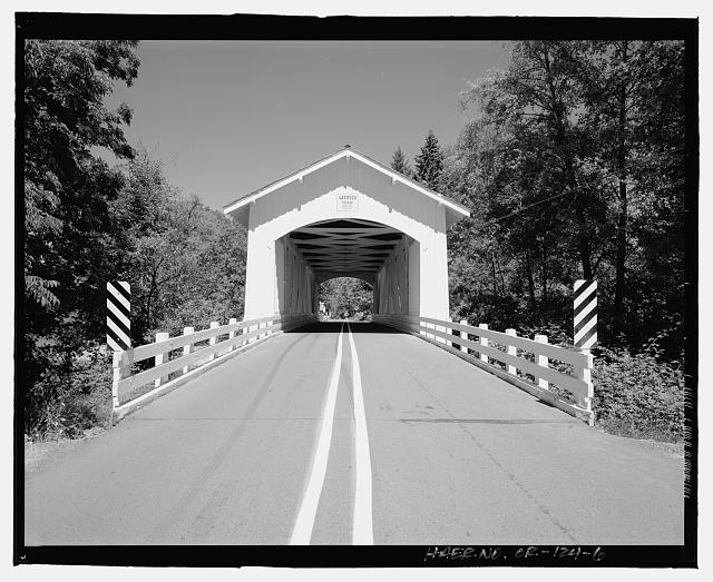 6.  Elevation view of the Larwood Bridge, view to east of west portal. - Larwood Bridge, Spanning Crabtree Creek, Fish Hatchery Road (CR 648), Lacomb, Linn County, OR