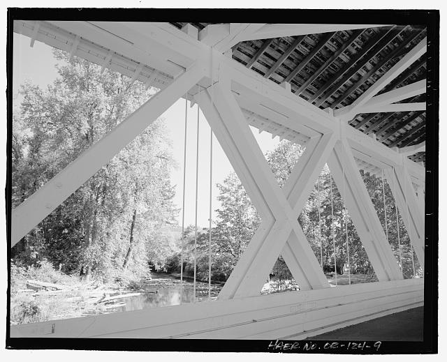 9.  Detail perspective view of the Larwood Bridge, view to east. - Larwood Bridge, Spanning Crabtree Creek, Fish Hatchery Road (CR 648), Lacomb, Linn County, OR