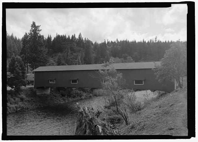 PERSPECTIVE NORTH, FACING DUE SOUTH - Office Bridge, Spanning North Fork of Middle Fork Willamette River, Old Mill Road (former logging road), Westfir, Lane County, OR
