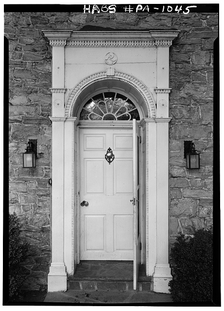 2.  Historic American Buildings Survey, Cervin Robinson, Photographer August, 1958 FRONT (NORTH) DOORWAY. - Abraham Knabb House, Oley Line Road vicinity (Oley Township), Oley, Berks County, PA