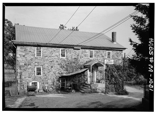 3.  Historic American Buildings Survey, Cervin Robinson, Photographer August, 1958 NORTHWEST ELEVATIONS. - Knabb-Bieber Mill, Monocacy Creek (Oley Township), Oley, Berks County, PA
