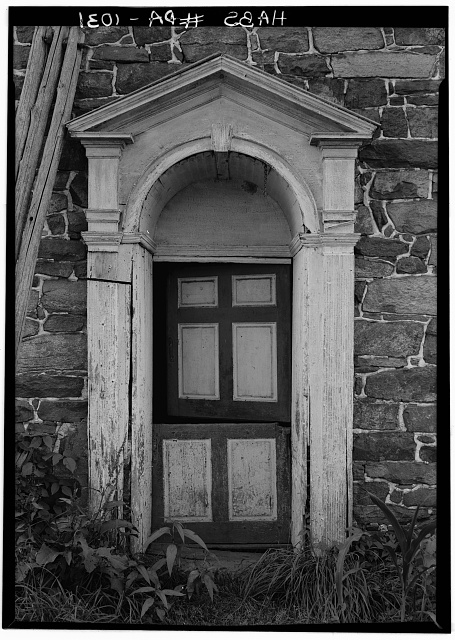 5.  Historic American Buildings Survey, Cervin Robinson, Photographer August, 1958 DOORWAY, SOUTHEAST ELEVATION. - Knabb-Bieber Mill, Monocacy Creek (Oley Township), Oley, Berks County, PA