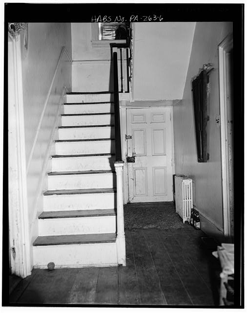6.  Fall, 1975 FIRST-FLOOR STAIRWAY, LOOKING EAST - William Penn Tavern, Gruber Road & State Route 183 (Penn Township), Mount Pleasant, Berks County, PA