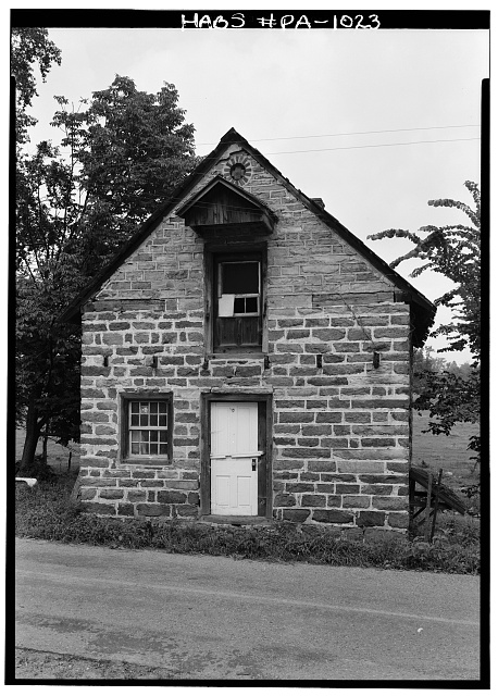 1.  Historic American Buildings Survey, Cervin Robinson, Photographer August, 1958 SOUTHWEST (FRONT) ELEVATION. - De Turck House, State Route 662 vicinity (Oley Township), Oley, Berks County, PA