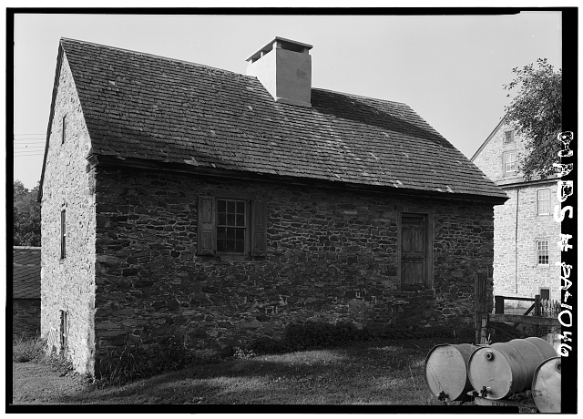 2.  Historic American Buildings Survey, Cervin Robinson, Photographer August, 1958 NORTH AND EAST ELEVATIONS. - Kaufman Small House, State Route 662 vicinity (Oley Township), Oley, Berks County, PA